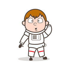 Cartoon Space-Traveler with Flushed Face Expression Vector Illustration