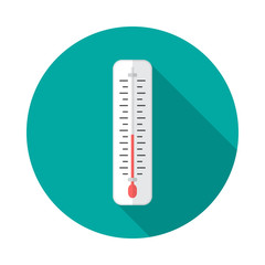 Thermometer circle icon with long shadow. Flat design style. Thermometer simple silhouette. Modern, minimalist, round icon in stylish colors. Web site page and mobile app design vector element.