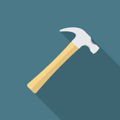 Hammer icon with long shadow. Flat design style. Hammer simple silhouette. Modern, minimalist icon in stylish colors. Web site page and mobile app design vector element.