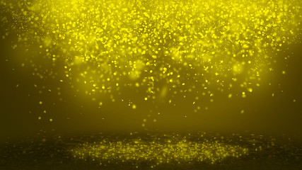 Dark Gold sparkle rays lights with bokeh elegant show on stage  abstract background. Dust sparks background.