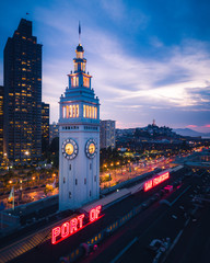 Fototapete - Aerial view of San Francisco Ferry Building at Night