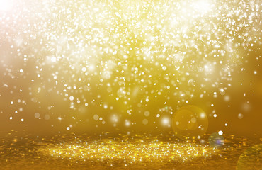Dark Gold sparkle rays lights with bokeh elegant abstract background. Dust sparks in explosion background. Vintage or retro.