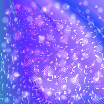 Music notes on blue purple background.