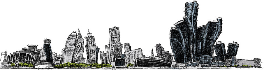 Cartoon skyline of the city of Detroit, Michigan, USA.