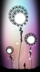 Fantasy giant moon flowers silhouette art photo manipulation