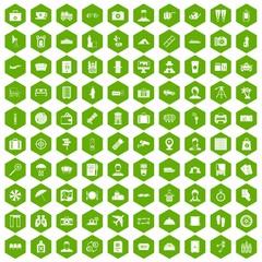 100 passport icons hexagon green