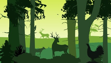Forest silhouette, deer and bird, vector illustration