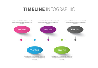 Colorful Ovals Along Dashed Line Inforgraphic Layout