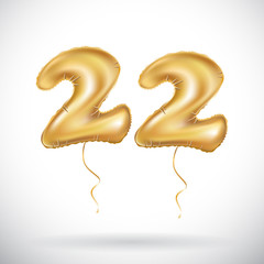 vector 22 Anniversary celebration with Brilliant Gold balloons & colorful alive confetti. twenty two 3d Illustration design for your unique anniversary background, invitation, card,