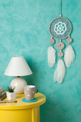 Gray white crochet doily dream catcher