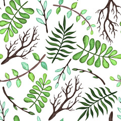 Green and Blue Leaves and Trees Branches Seamless Pattern, Vector Illustration