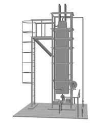 Petroleum gas installation. Tracing illustration of 3d