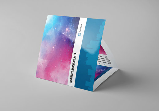 Blue Square Trifold Brochure Layout 1