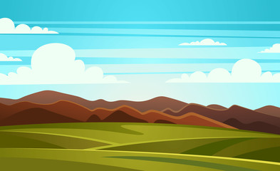 Poster Turquoise Summer Landscape Mountain Vector Illustration