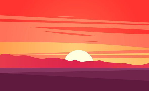 Sunset landscape vector illustration.