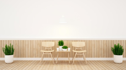 Dining area and wall decorate in coffee shop or restaurant - 3D Rendering