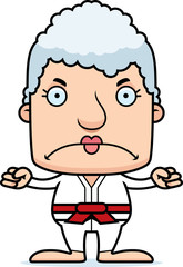 Cartoon Angry Karate Woman