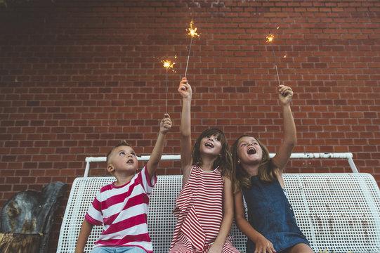 children and sparkler