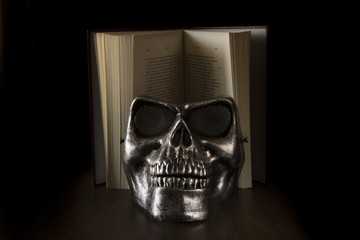 Skull with book