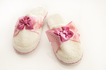 Pair of blank white home slippers. Bed shoes accessory footwear