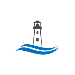 sea lighthouse vector template logo