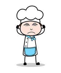 Cartoon Irritated Chef Expression Vector Illustration