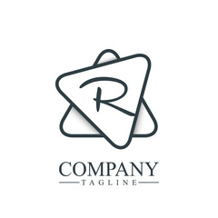 Initial Letter R Double Triangle Design Logo