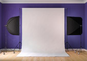 Interior of studio room with equipment. Lighting from the window.Brilliant purple walls.3D rendering