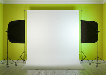 Interior of studio room with equipment. Artificial lighting with softboxes.The saturated yellow-green color of the walls.3D rendering