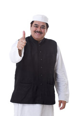 Politician giving thumbs up