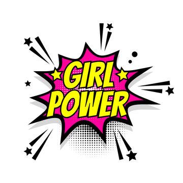 Comic text girl power speech bubble pop art