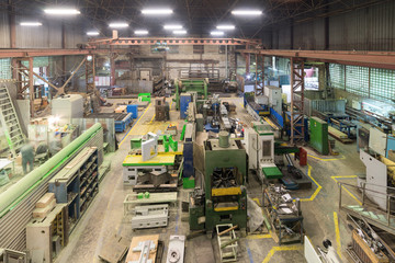 Metalworking shop. Lathes and grinders, welding and cutting machines.