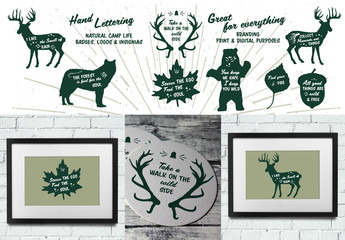 Hand-Lettered Plants and Animals Icon Set