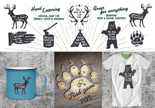Hand-Lettered Camping and Nature Icon Set