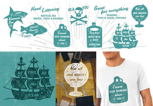 Hand-Lettered Nautical Icon Set