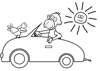 Monkey at car, funny illustration, vector icon