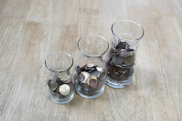 Glass savings on wooden floor