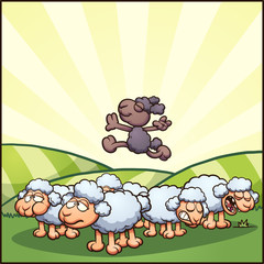 Happy cartoon black sheep. Vector clip art illustration with simple gradients. Some elements on separate layers.