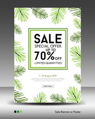 Sale Banner or Poster layout template, jungle leaf, floral tropical summer background, flyers, invitation, brochure, voucher discount, Vector illustration