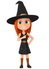 Witch points a finger at the empty space. Halloween icon is no isolated background. 3D rendering illustration.