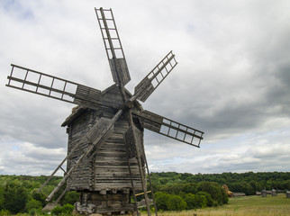Autocollant pour porte Moulins Windmill made of wood