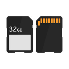 Flat icon SD memory card. Vector illustration.