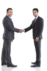Portrait of two businessmen shaking hands