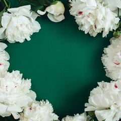 Frame wreath of white peony flowers, branches, leaves and petals with space for text on green background. Flat lay, top view. Peony flower texture.
