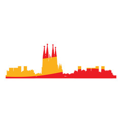 Isolated cityscape of Barcelona with the flag of Spain, Vector illustration