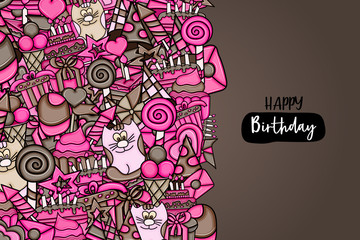 Birthday cartoon doodle design. Cute background concept for anniversary greeting card,  advertisement, banner, flyer, brochure. Hand drawn vector illustration. Brown and pink color.