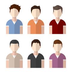 Man avatar set businessman portrait character person vector male face icon illustration