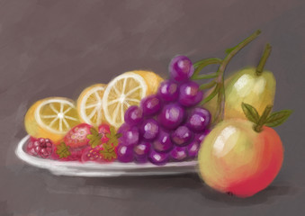 Still life: lemon, grapes, apple, pear, strawberry, raspberry. digital painting