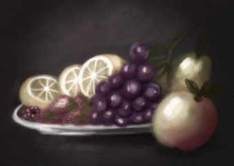 Still life: lemon, grapes, apple, pear, strawberry, raspberry. digital painting