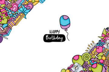 Birthday cartoon doodle design. Cute background concept for anniversary greeting card,  advertisement, banner, flyer, brochure. Hand drawn vector illustration.